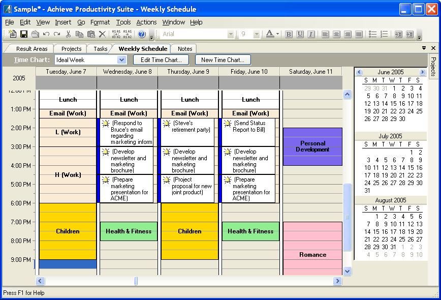 achieve productivity suite screenshots