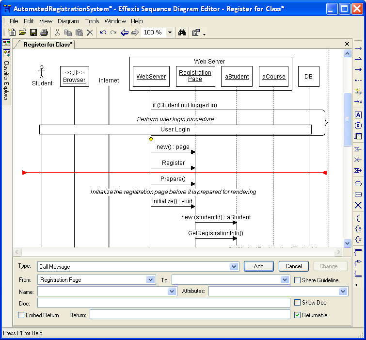 Effexis sequence diagram editor screen shots you can build complex sequence diagrams much faster than with drawing programs or even generic uml tools ccuart Choice Image