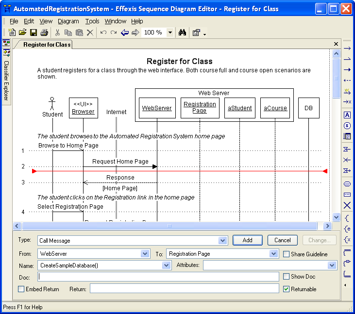 Effexis sequence diagram editor screen shots ccuart Choice Image
